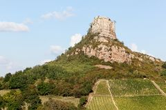 Rock of Solutre with vineyards, Burgundy Royalty Free Stock Image