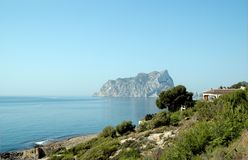 Rock in the Spanish sea. Calpe in the Spanish sea at the eastern coast Royalty Free Stock Photography