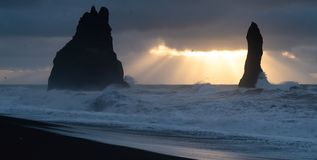 Reynisfjara close to Vik, Iceland, Europe stock images