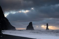 Reynisfjara close to Vik, Iceland, Europe royalty free stock images