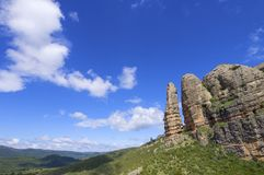 Rock spire. View of Aguero Mountains, Huesca, Aragon, Spain Stock Photo