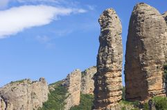 Rock spire. View of Aguero Mountains, Huesca, Aragon, Spain Royalty Free Stock Image