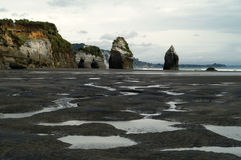 Rock spires on the beach Stock Image