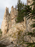 Rock spires and hanging gardens near Paudre Lake Royalty Free Stock Photo