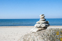 Rock stack. In a beach, sunny day Royalty Free Stock Photography
