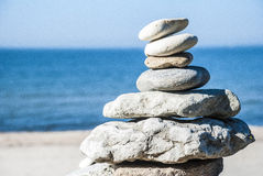 Rock stack. In a beach, sunny day Royalty Free Stock Photos
