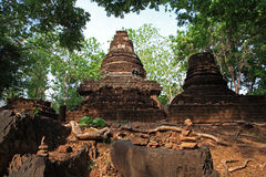Rock stack in front of ancient Thai temple Royalty Free Stock Images