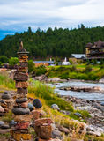 Rock Stacking in Southern Colorado Pagosa Springs Durango Riverside Stock Images
