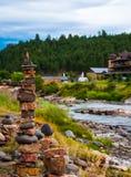 Rock Stacking in Southern Colorado Pagosa Springs Durango Riverside Stock Images