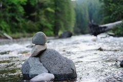 The Cowlitz River. Rock Stacks in the The Colitz River near the La Wis Wis Campground in the state of Washinton Royalty Free Stock Photo