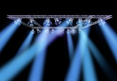 Rock stage lighting. With professional spot lights and truss construction stock illustration
