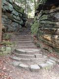 Rock Staircase. Stairs cut into the rocks of Cuyahoga Valley by the Civilian Conservation Corps created by the New Deal Royalty Free Stock Image
