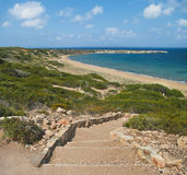 Rock staircase to beach Royalty Free Stock Images
