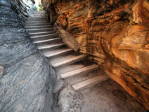 Rock stairs at Athabasca Falls. In Jasper National Park Royalty Free Stock Image