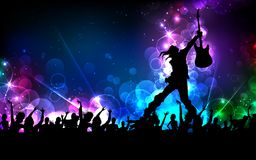 Rock Star. Illustration of rock star performing with guitar on colorful cityscape background Royalty Free Stock Images