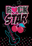 Rock star. Vector illustration of a rock star word with an electric guitar with matching repeat pattern of stars Stock Images