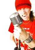 Rock Star. Young Rock Star on the mic Royalty Free Stock Photography