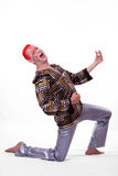 Rock star with air guitar Royalty Free Stock Photos