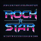 Rock star alphabet font. Metallic beveled letters and numbers. stock illustration