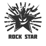 Rock star band music festival icon or vector emblem. Rock band vector logo template. Symbol of star skull and grunge light rays for rocker music festival or Stock Photos