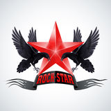 Rock star. Banner in red color with two ravens Stock Photography