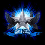 Rock star. Blue Rock Star banner with two ravens over shining background Stock Photos