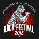 Rock star con il microfono sul fondo di lerciume - royalty illustrazione gratis