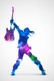 Rock star con la chitarra Fotografia Stock