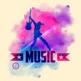 Rock star con la chitarra per fondo musicale Fotografia Stock Libera da Diritti