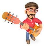 rock star 3D che gioca la chitarra Fotografia Stock Libera da Diritti