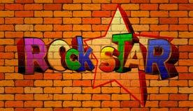 Rock star dei graffiti sulla parete Immagine Stock