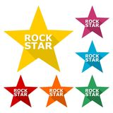 Rock star design, icons set with long shadow. Vector icon Stock Photo