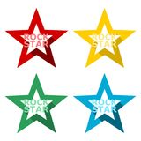 Rock star design, icons set with long shadow. Vector icon Royalty Free Stock Images