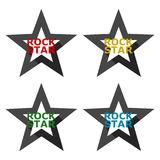 Rock star design, icons set with long shadow. Vector icon Stock Images