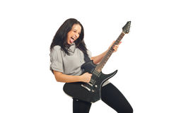Rock star girl with guitar Stock Photography