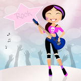Rock star girl playing guitar Stock Photography