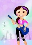rock star girl playing guitar Stock Photography