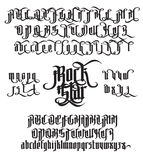 Rock Star Gothic Font. Rock Star - modern gothic Style Font. Gothic letters with alternate decoration elements. Vector alphabet royalty free illustration