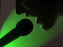 Rock star green. A rock star yells into a microphone on green background Stock Image