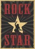 Rock star grunge poster. With guitarist. Vector illustration royalty free illustration
