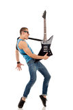 Rock star with a guitar Royalty Free Stock Photos
