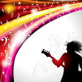 Rock star with guitar for musical design Stock Photo