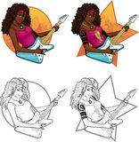 Rock star guitarist African American girl on. Female African American rock musician with tattoos playing electric guitar vector illustration in comics cartoon Royalty Free Stock Images