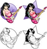 Rock star guitarist Asian girl on background. Female Asian rock musician with tattoos playing electric guitar vector illustration  in comics cartoon and lineart Royalty Free Stock Photography