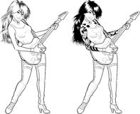 Rock star guitarist Asian girl lineart. Female Asian rock musician with tattoos playing electric guitar vector illustration in comics lineart style Royalty Free Stock Photography