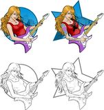Rock star guitarist girl on background. Female rock musician with tattoos playing electric guitar vector illustration in comics cartoon and lineart style with Royalty Free Stock Image