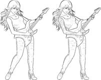 Rock star guitarist girl lineart. Female rock musician with tattoos playing electric guitar vector illustration in comics lineart style Royalty Free Stock Photos