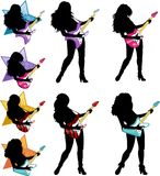 Rock star guitarist girl silhouettes set. Female rock musician playing electric guitar vector illustrations set silhouettes Stock Image