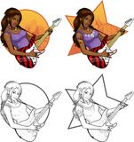 Rock star guitarist Indonesian girl on background. Female Indonesian rock musician with tattoos playing electric guitar vector illustration in comics cartoon and Stock Images