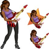 Rock star guitarist Indonesian girl cartoon style. Female Indonesian rock musician playing electric guitar vector illustration in cartoon style with cilired Stock Image